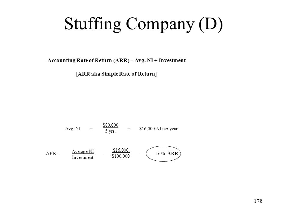 Stuffing Company (D) Accounting Rate of Return (ARR) = Avg. NI ÷ Investment. [ARR aka Simple Rate of Return]